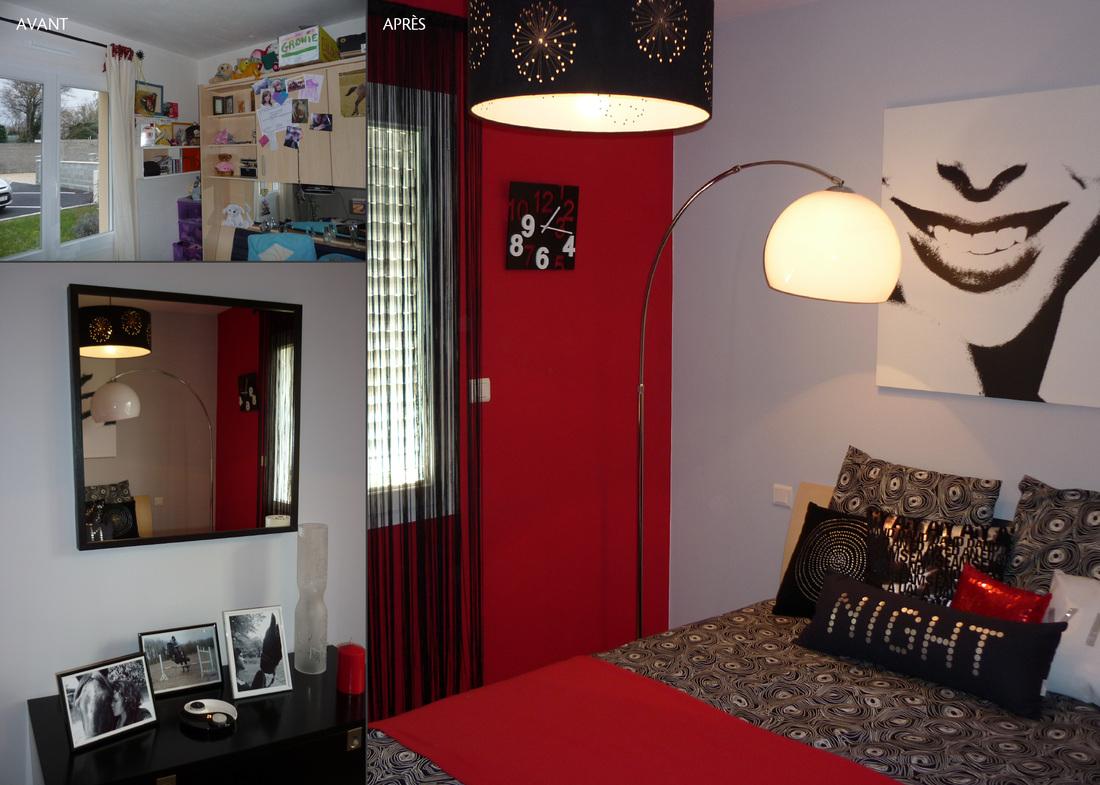 Chambre gris et rouge ado for Chambre loft ado